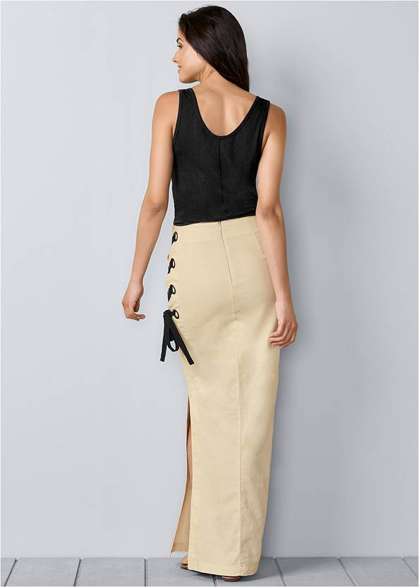 Back View Lace Up Linen Maxi Skirt