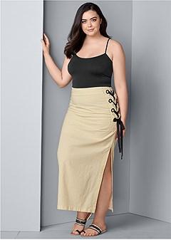 plus size lace up linen maxi skirt