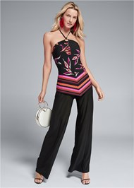 Front View Printed Halter Jumpsuit