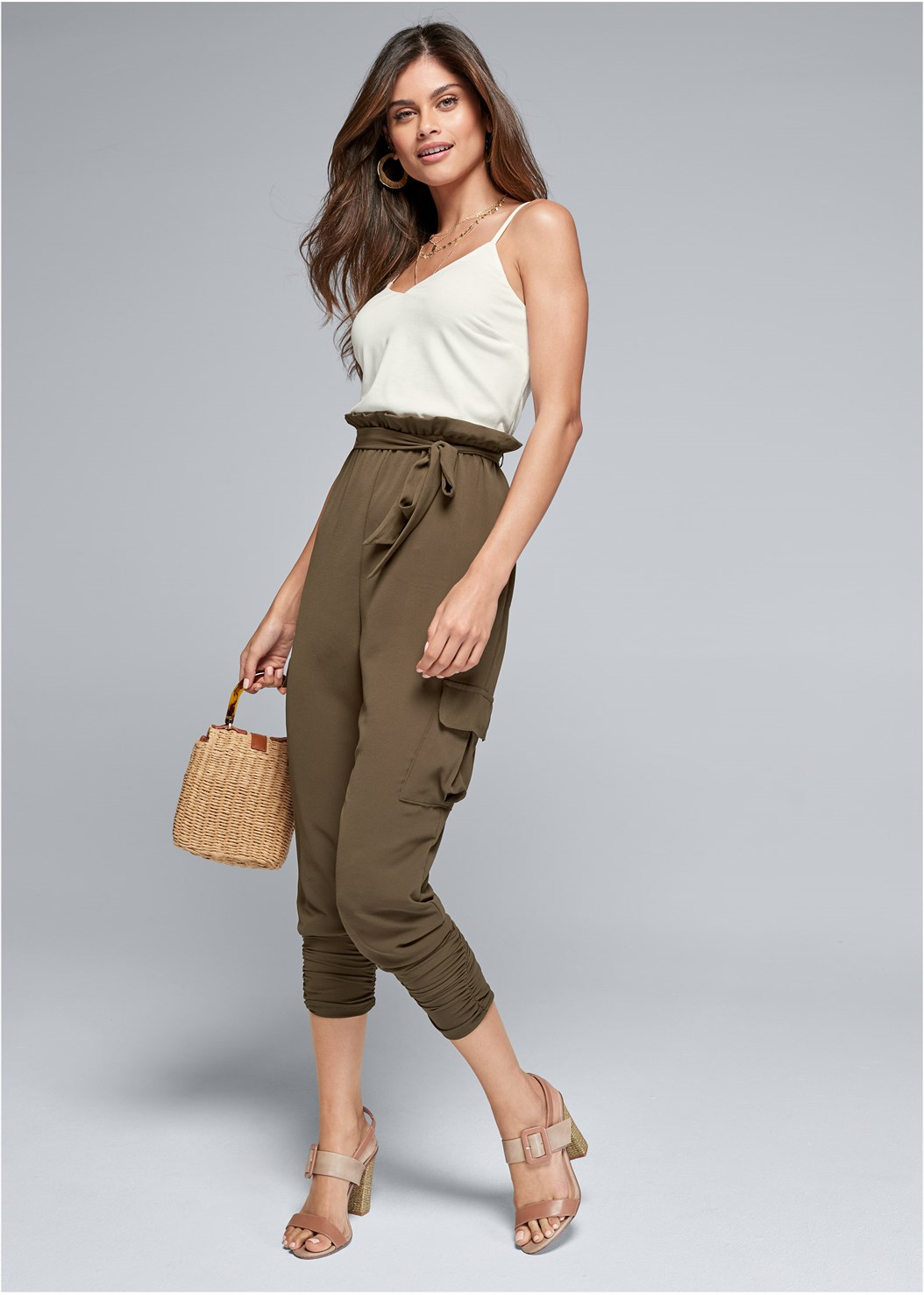 Cargo Twofer Jumpsuit,Layered Long Necklace