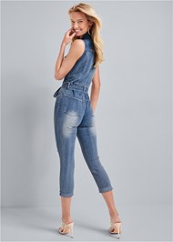 Full back view Ripped Denim Jumpsuit