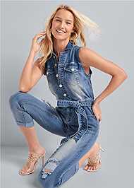 Full front view Ripped Denim Jumpsuit