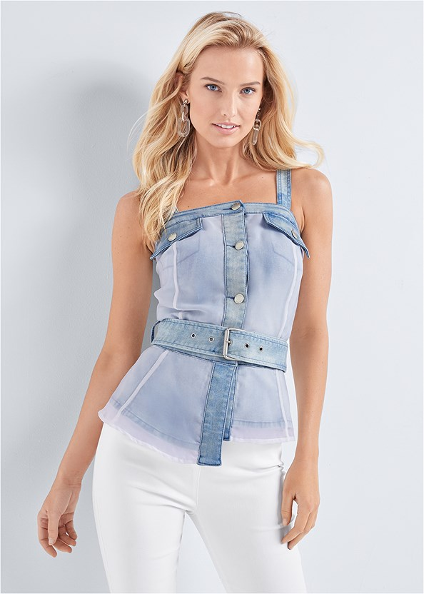 Uneven Hem Denim Top,Mid Rise Slimming Stretch Jeggings,Lucite Detail Heels,Everyday You Strapless Bra