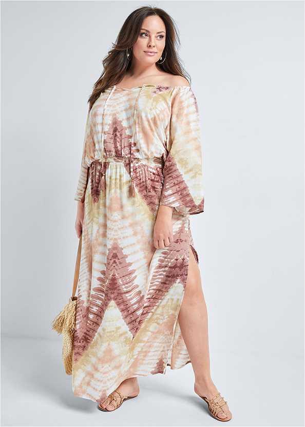 Batik Print Dress,Embellished Lucite Heel