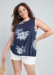 Cropped Front View Open Back Floral Top