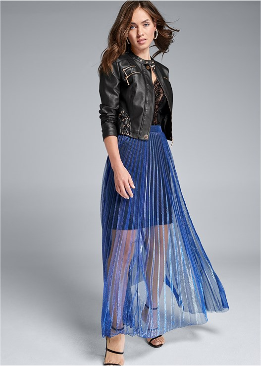 PLEATED MAXI SKIRT,FAUX LEATHER LACE UP JACKET,HIGH HEEL STRAPPY SANDALS