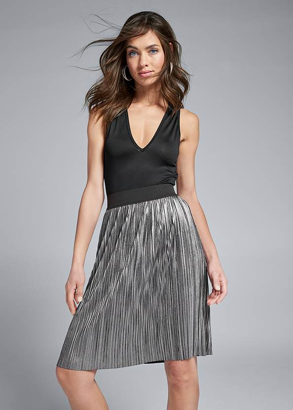 Pleated Metallic Midi Skirt,High Heel Strappy Sandals