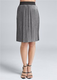 Alternate View Pleated Metallic Midi Skirt