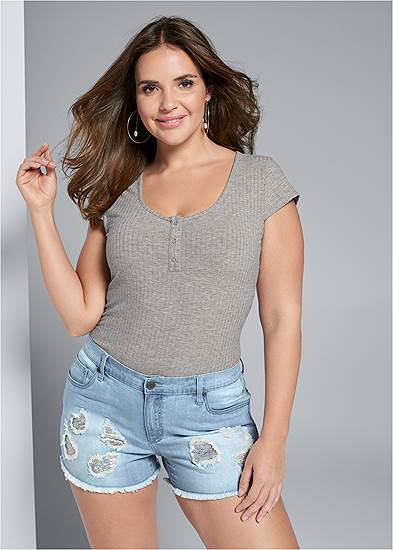Plus Size Sequin Patch Jean Shorts