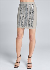 Waist down front view Bandage Sequin Skirt