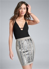 Front View Bandage Sequin Skirt