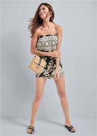 Alternate View Strapless Printed Romper