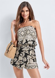Front View Strapless Printed Romper