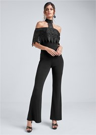 Front View Cold Shoulder Lace Jumpsuit