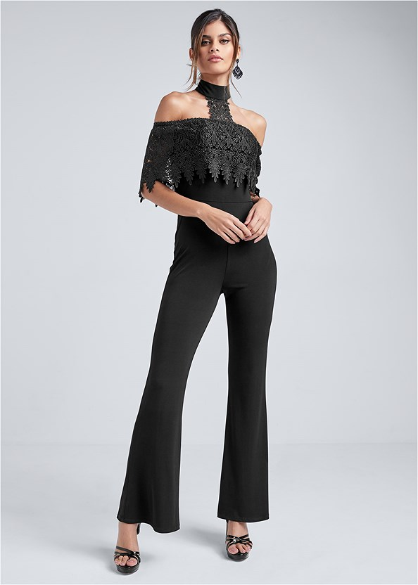 Cold Shoulder Lace Jumpsuit,Crisscross Strappy Heel,Beaded Hoop Earrings