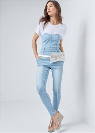 Front View Twofer Denim Jumpsuit