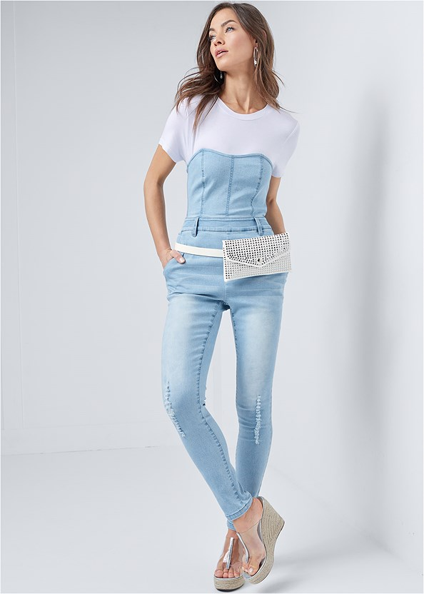 Twofer Denim Jumpsuit,Studded Belt Bag