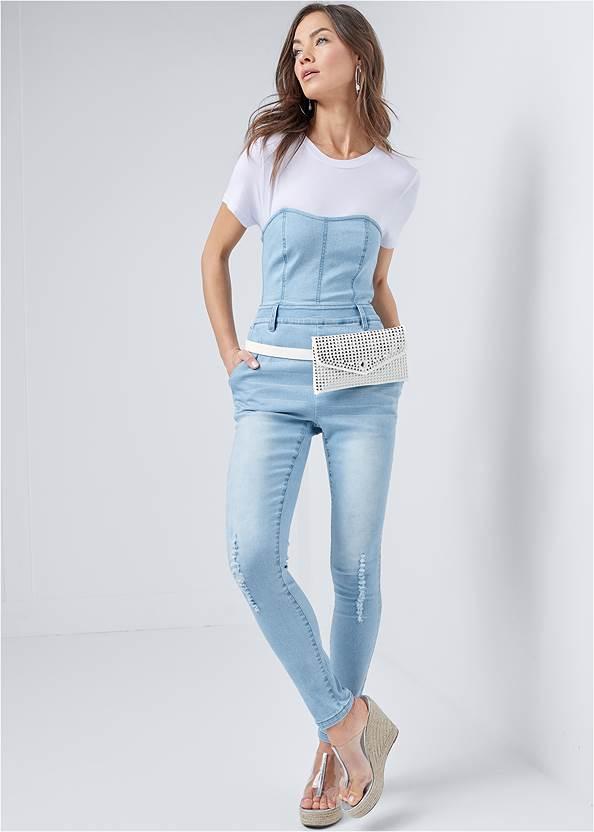 Twofer Denim Jumpsuit,Studded Belt Bag