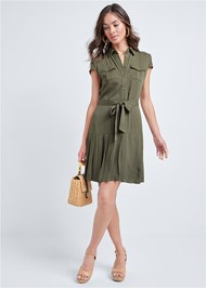 Alternate View Pleated Shirt Dress