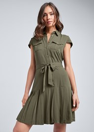 Front View Pleated Shirt Dress