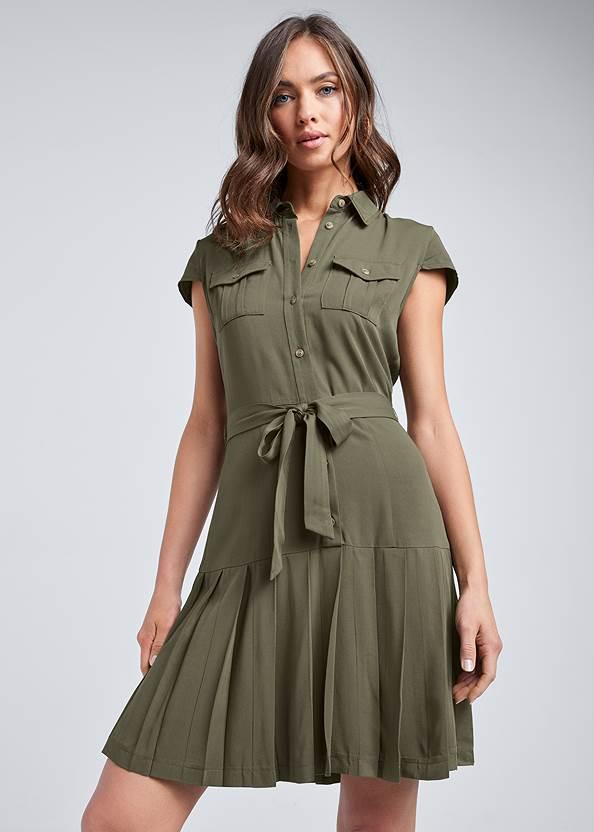 Pleated Shirt Dress,Animal Print Bangle Set