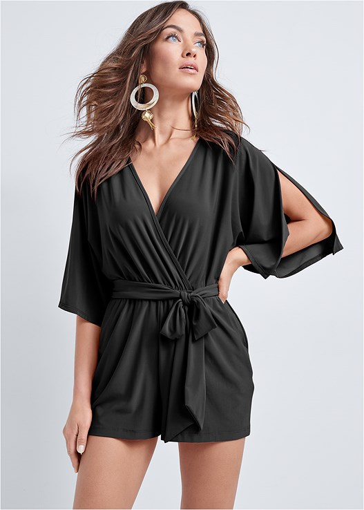 KIMONO SLEEVE ROMPER,OVERSIZED TASSEL EARRINGS