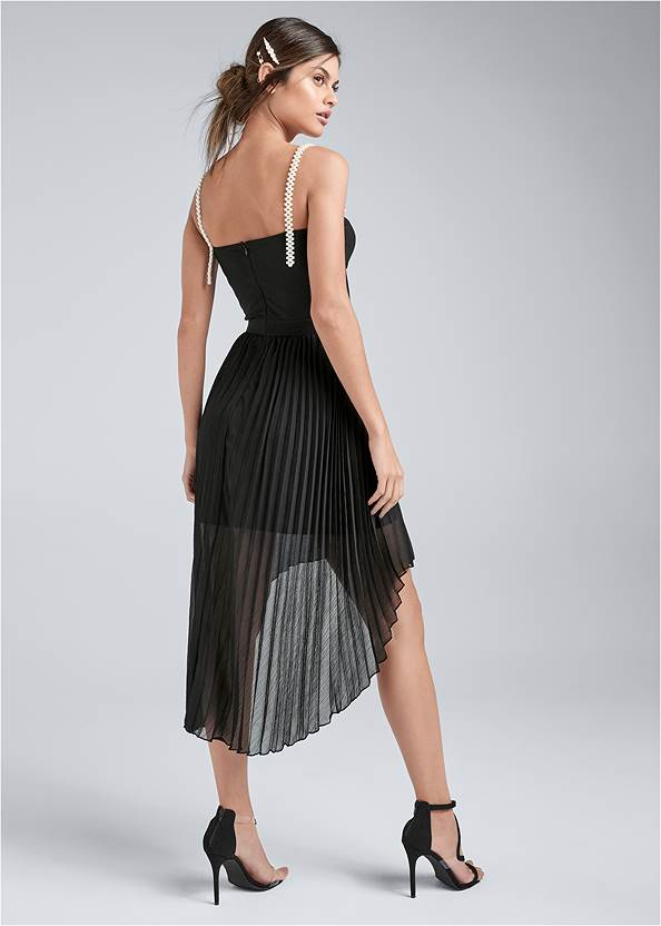 Full back view Pearl Strap Pleated Dress