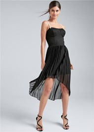 Full front view Pearl Strap Pleated Dress