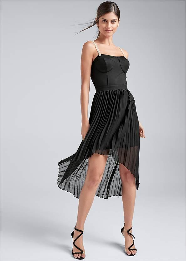 Pearl Strap Pleated Dress