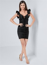 Full front view Ruched Lace Up Dress