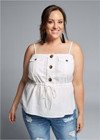 plus size button front utility top