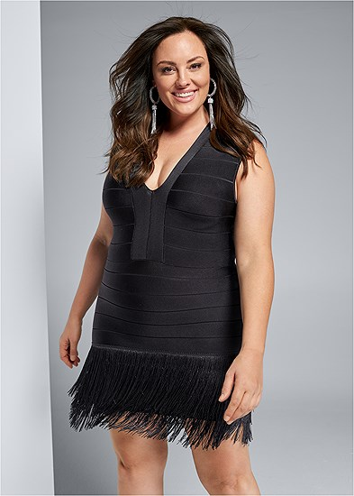Plus Size Bandage Fringe Dress
