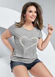 Cropped Front View Bead Detail Graphic Tee
