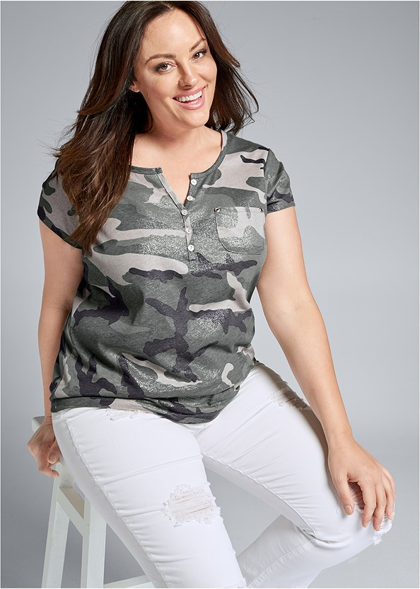Camo Pocket Top,Triangle Hem Jeans,Balconette Bra/Panty Set