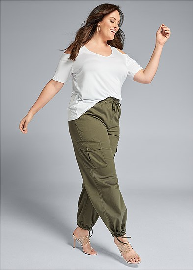 Plus Size High Waisted Cargo Pants