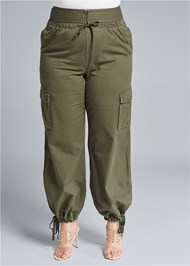 Cropped Front View High Waisted Cargo Pants