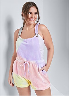 plus size tie dye shorts overalls