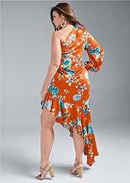 Back View One Shoulder Ruffle Dress