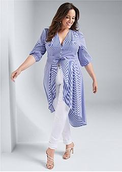 plus size high low pinstripe blouse