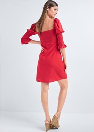 Full back view Puff Sleeve Linen Dress