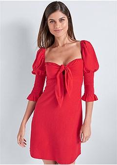 puff sleeve linen dress