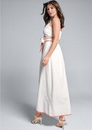 Full back view Linen Wrap Maxi Dress