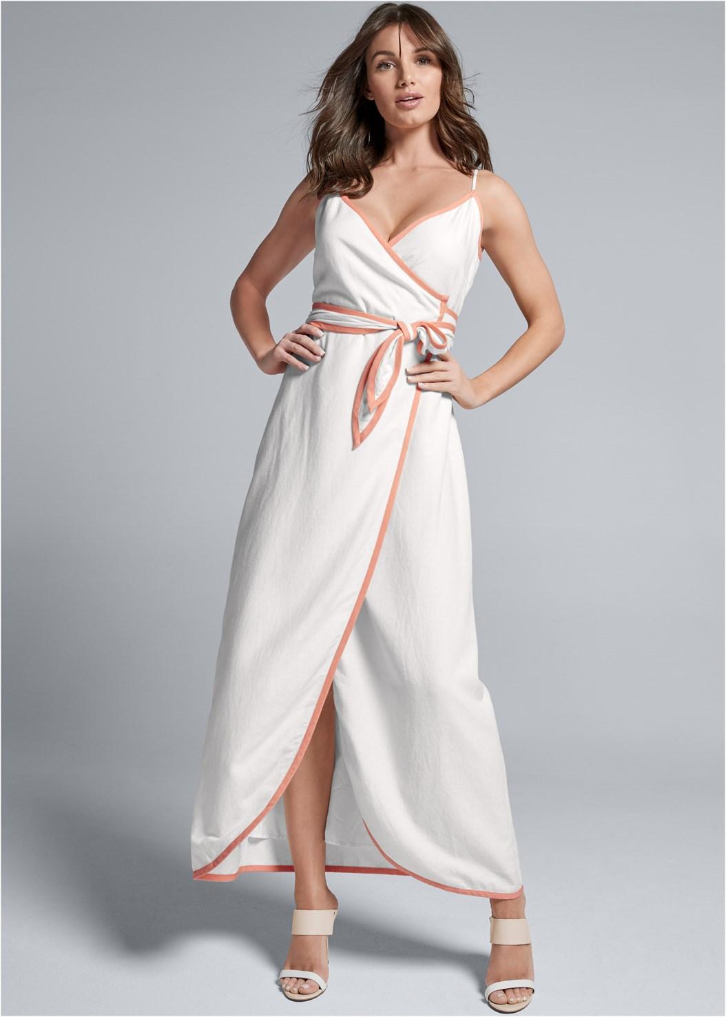 Linen Wrap Maxi Dress,Color Block Mules