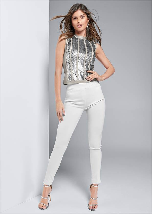 Front View Bandage Sequin Sweater