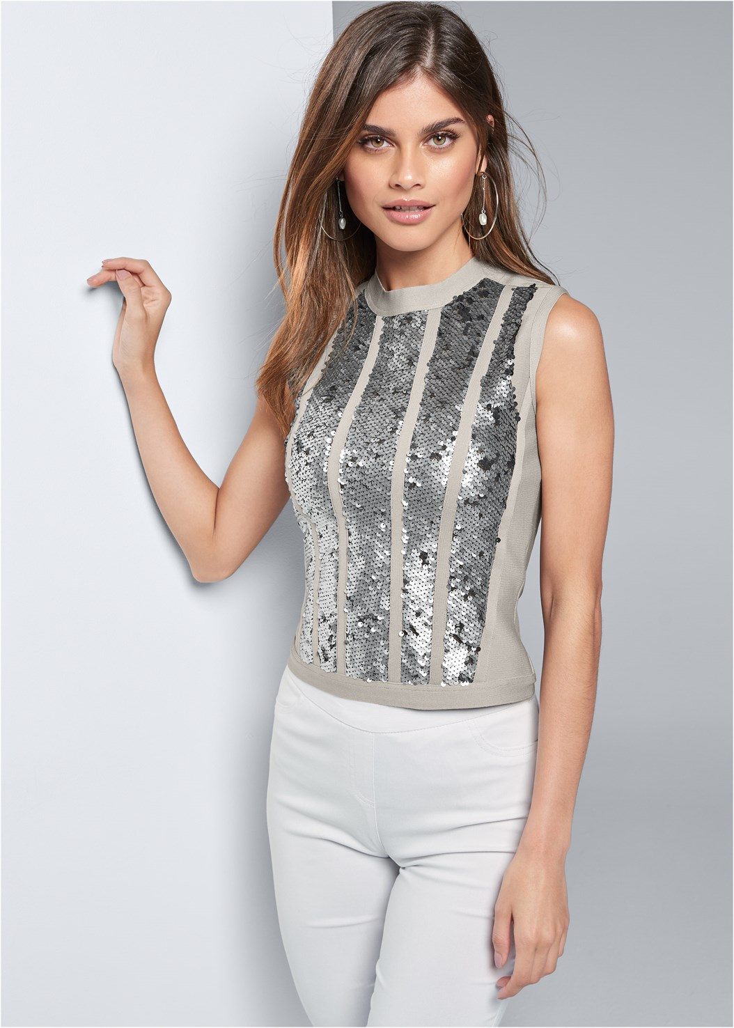 Bandage Sequin Sweater,Mid Rise Slimming Stretch Jeggings,High Heel Strappy Sandals