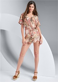 Full front view Paisley Tie Front Romper