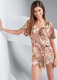 Cropped front view Paisley Tie Front Romper