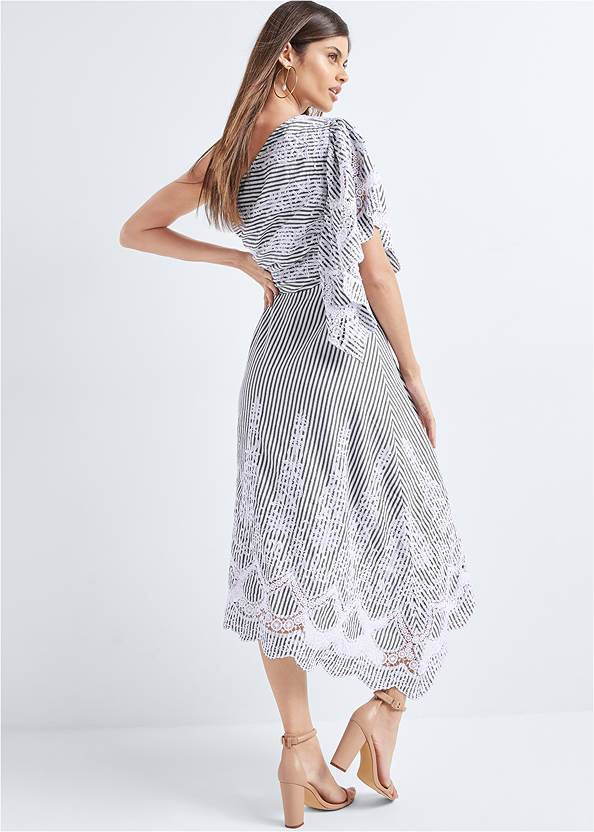 Full back view Embroidered Linen Dress