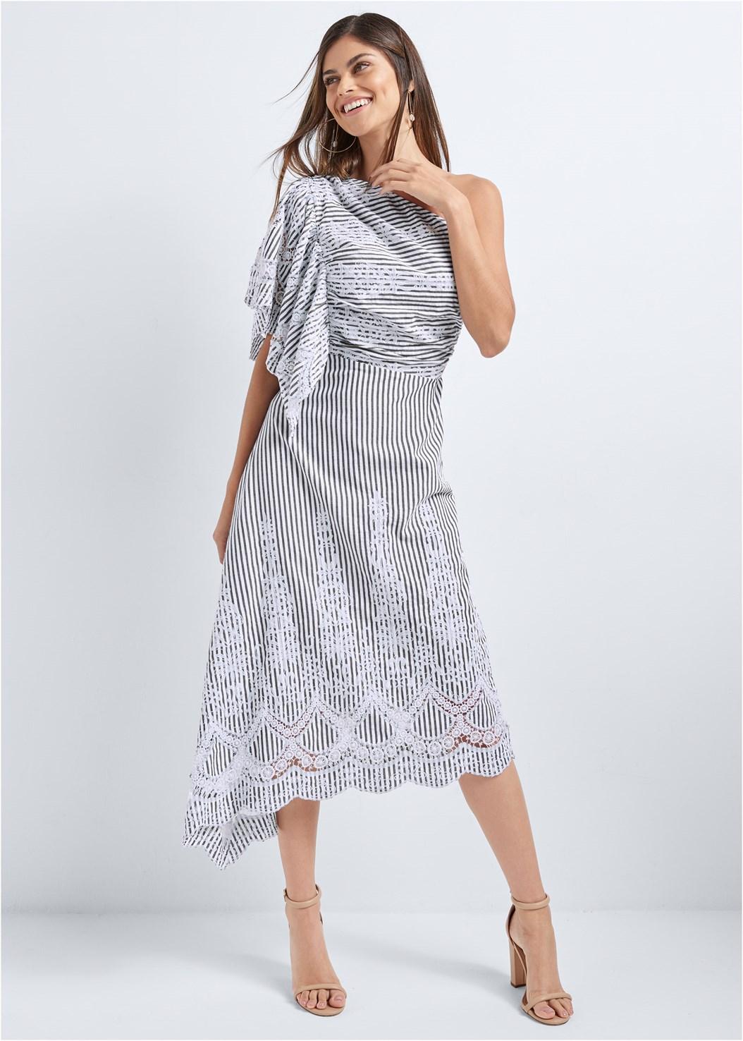 Embroidered Linen Dress,Block Heels
