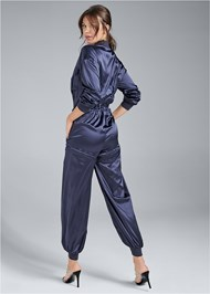 Full back view Satin Utility Jumpsuit